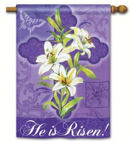 Gifts gift ideas home decor for the entire catholic christian he is risen easter lily decorative outdoor house flag negle Images